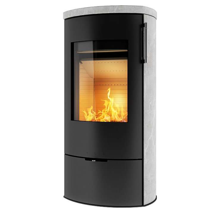 Rais Poleo II Wood Stove Black Metal Framed Door - Black