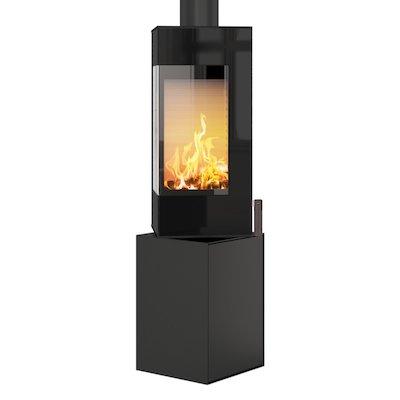 Rais Q-BE Wood Stove Black Black Glass Framed Door Fixed Pedestal