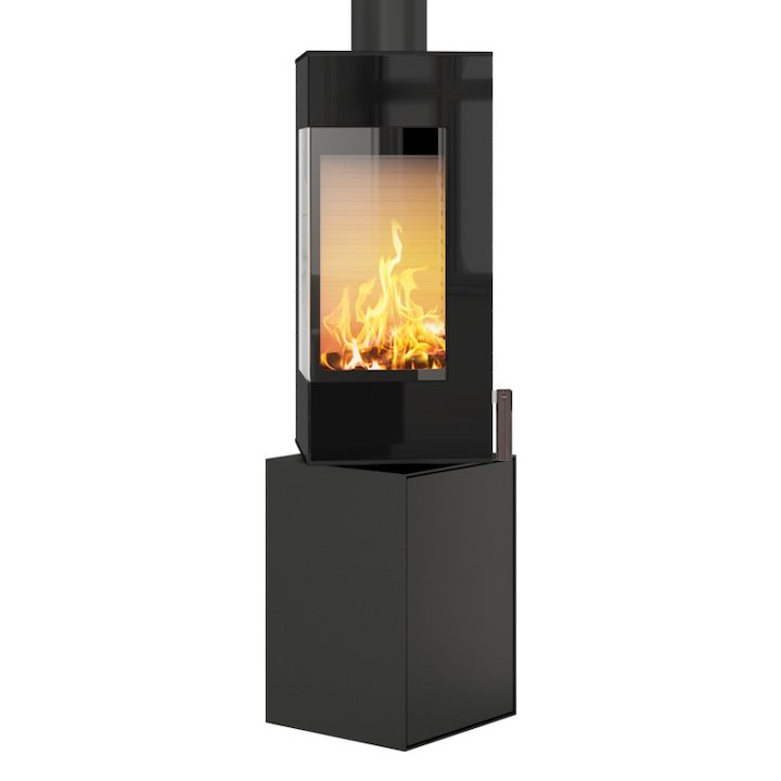 Rais Q-BE Wood Stove Black Black Glass Framed Door Rotating Pedestal - Black