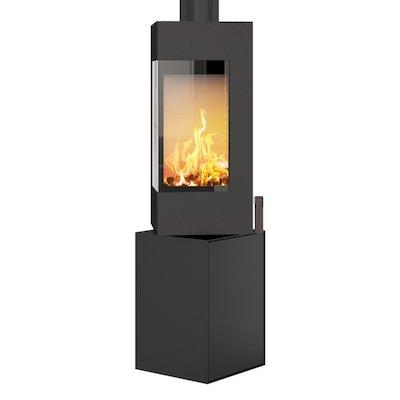 Rais Q-BE Wood Stove Black Metal Framed Door Fixed Pedestal
