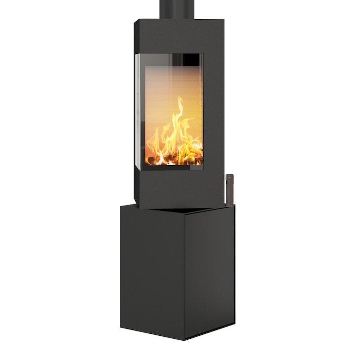 Rais Q-BE Wood Stove Black Metal Framed Door Rotating Pedestal - Black