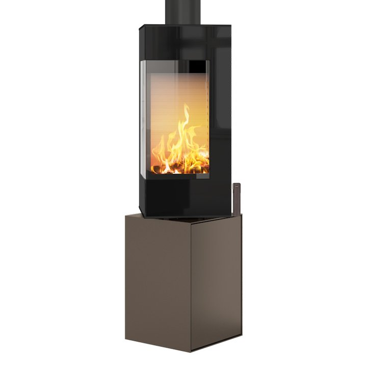 Rais Q-BE Wood Stove Mocha Black Glass Framed Door Rotating Pedestal - Mocha