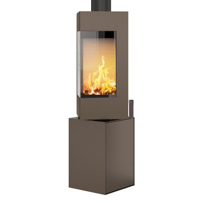 Rais Q-BE Wood Stove Mocha Metal Framed Door Fixed Pedestal