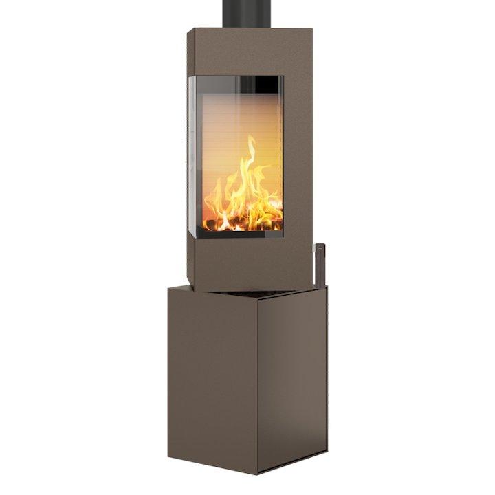 Rais Q-BE Wood Stove Mocha Metal Framed Door Rotating Pedestal - Mocha