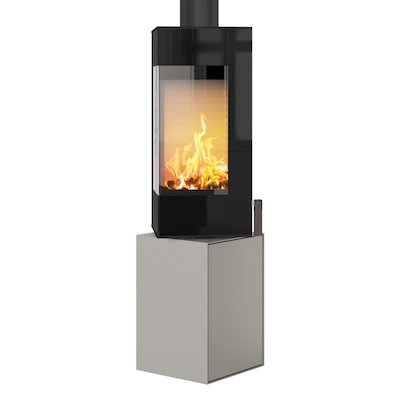 Rais Q-BE Wood Stove Nickel Black Glass Framed Door Fixed Pedestal