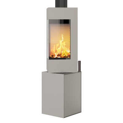 Rais Q-BE Wood Stove Nickel Metal Framed Door Fixed Pedestal