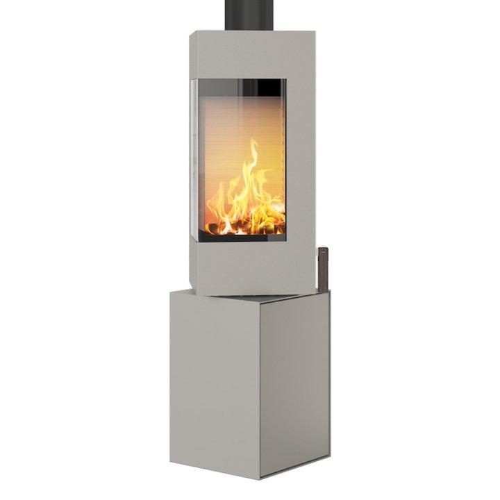 Rais Q-BE Wood Stove Nickel Metal Framed Door Rotating Pedestal - Nickel