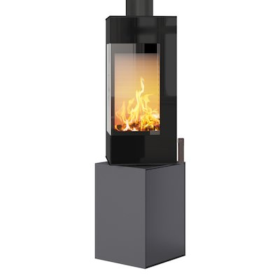 Rais Q-BE Wood Stove Platinum Black Glass Framed Door Fixed Pedestal