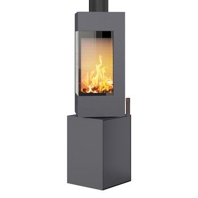 Rais Q-BE Wood Stove Platinum Metal Framed Door Fixed Pedestal