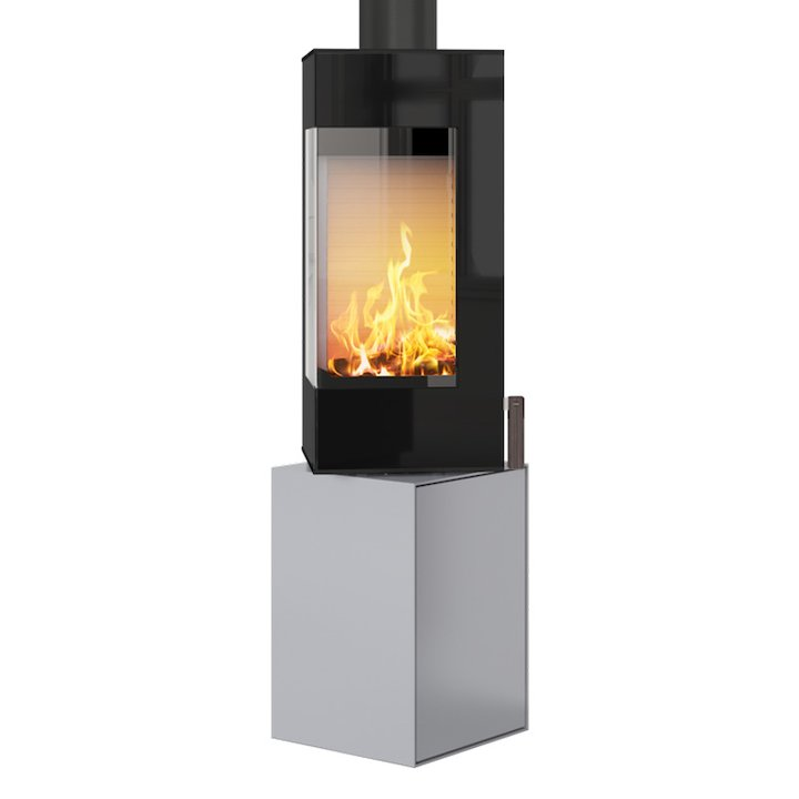 Rais Q-BE Wood Stove Silver Black Glass Framed Door Rotating Pedestal - Silver Filigree