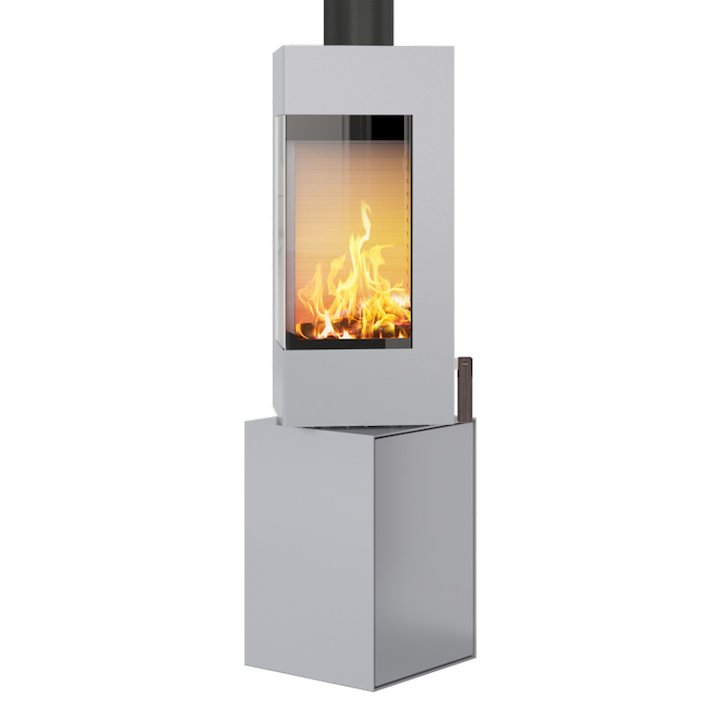 Rais Q-BE Wood Stove Silver Metal Framed Door Rotating Pedestal - Silver Filigree