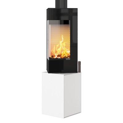 Rais Q-BE Wood Stove White Black Glass Framed Door Fixed Pedestal
