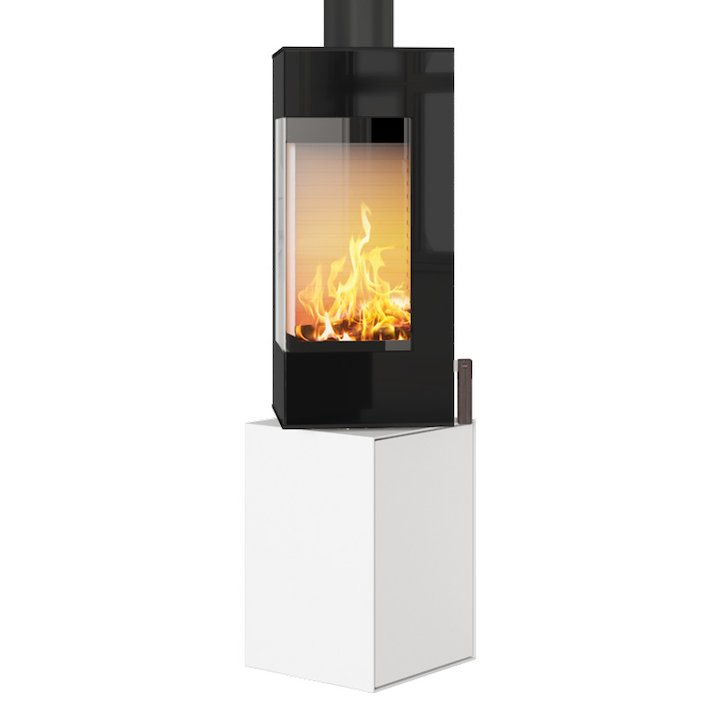 Rais Q-BE Wood Stove White Black Glass Framed Door Rotating Pedestal - White