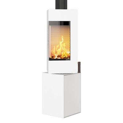 Rais Q-BE Wood Stove White Metal Framed Door Fixed Pedestal