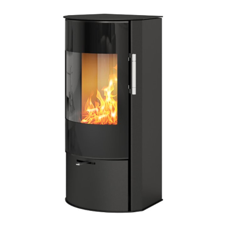 Rais Rina Wood Stove Black Black Glass Framed Door - Black