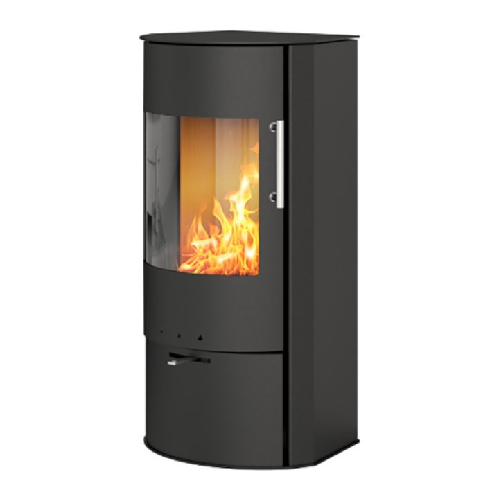 Rais Rina Wood Stove Black Metal Framed Door - Black