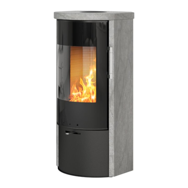 Rais Rina Wood Stove Black/Soapstone Black Glass Framed Door - Black / Soapstone