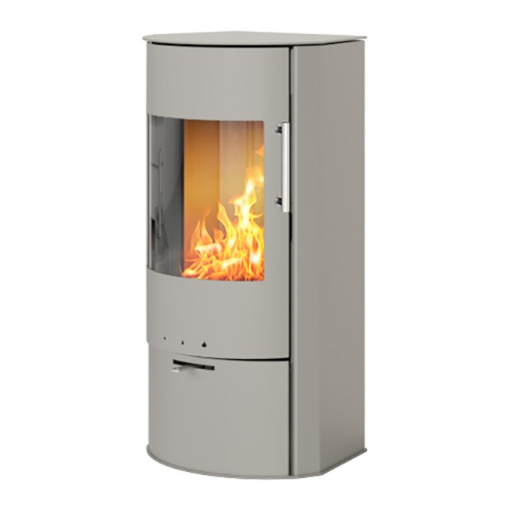 Rais Rina Wood Stove Nickel Metal Framed Door - Nickel