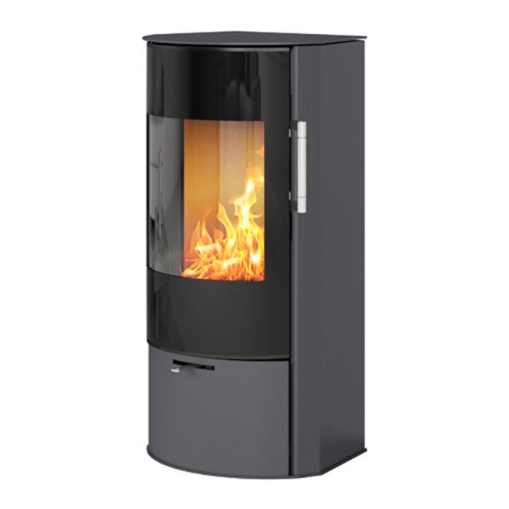 Rais Rina Wood Stove Platinum Black Glass Framed Door - Platinum