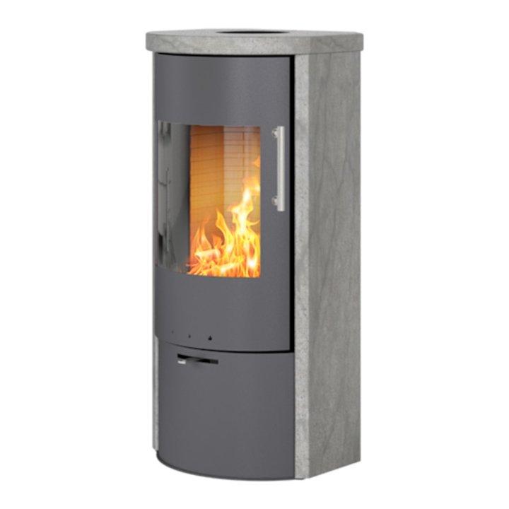 Rais Rina Wood Stove Platinum/Soapstone Metal Framed Door - Platinum / Soapstone