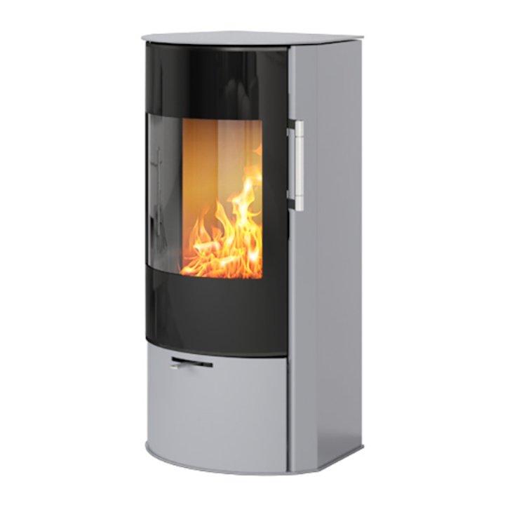 Rais Rina Wood Stove Silver Black Glass Framed Door - Silver Filigree
