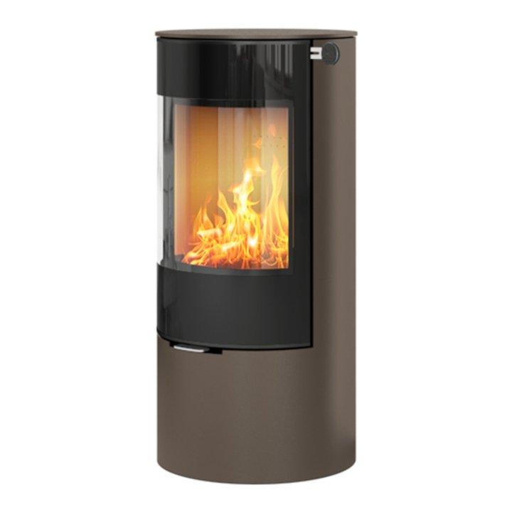 Rais Viva 100L Wood Stove Mocha Black Glass Framed Door Solid Sides - Mocha