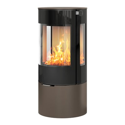 Rais Viva 100L Wood Stove Mocha Black Glass Framed Door Side Glass Windows