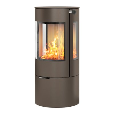 Rais Viva 100L Wood Stove Mocha Metal Framed Door Side Glass Windows