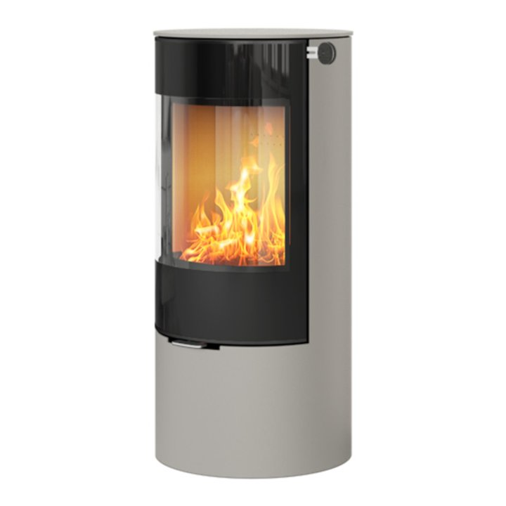Rais Viva 100L Wood Stove Nickel Black Glass Framed Door Solid Sides - Nickel