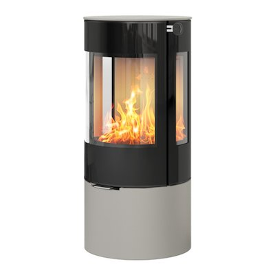 Rais Viva 100L Wood Stove Nickel Black Glass Framed Door Side Glass Windows