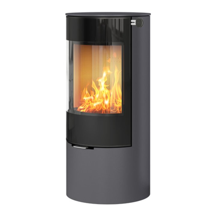 Rais Viva 100L Wood Stove Platinum Black Glass Framed Door Solid Sides - Platinum