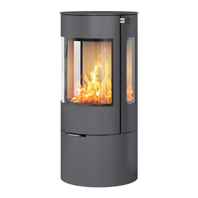 Rais Viva 100L Wood Stove Platinum Metal Framed Door Side Glass Windows