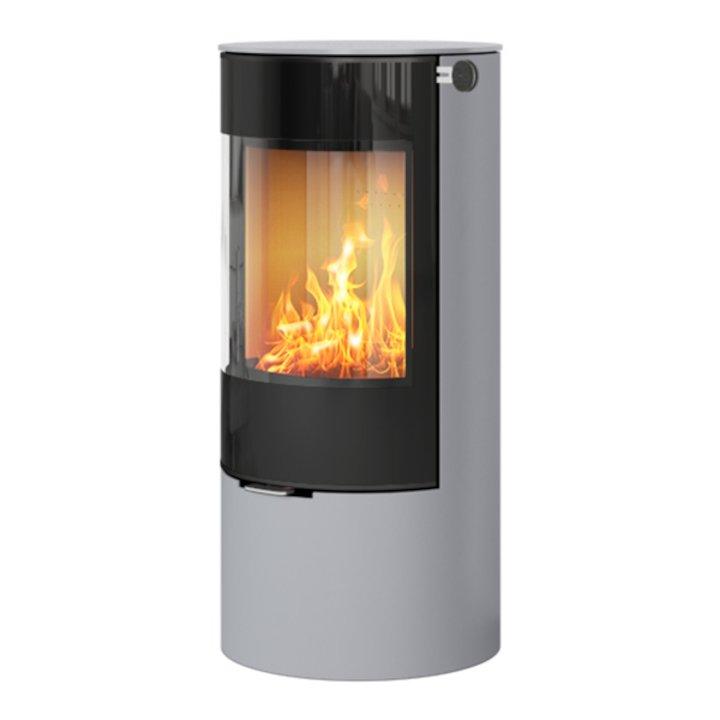 Rais Viva 100L Wood Stove Silver Black Glass Framed Door Solid Sides - Silver Filigree