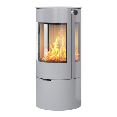 Rais Viva 100L Wood Stove Silver Metal Framed Door Side Glass Windows