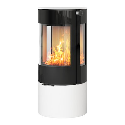 Rais Viva 100L Wood Stove White Black Glass Framed Door Side Glass Windows