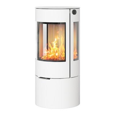 Rais Viva 100L Wood Stove White Metal Framed Door Side Glass Windows