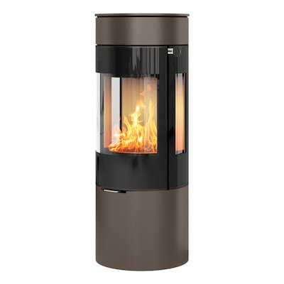 Rais Viva 120L Wood Stove Mocha Black Glass Framed Door Side Glass Windows