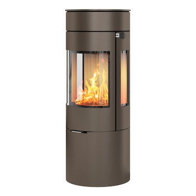 Rais Viva 120L Wood Stove Mocha Metal Framed Door Side Glass Windows