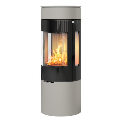 Rais Viva 120L Wood Stove Nickel Black Glass Framed Door Side Glass Windows