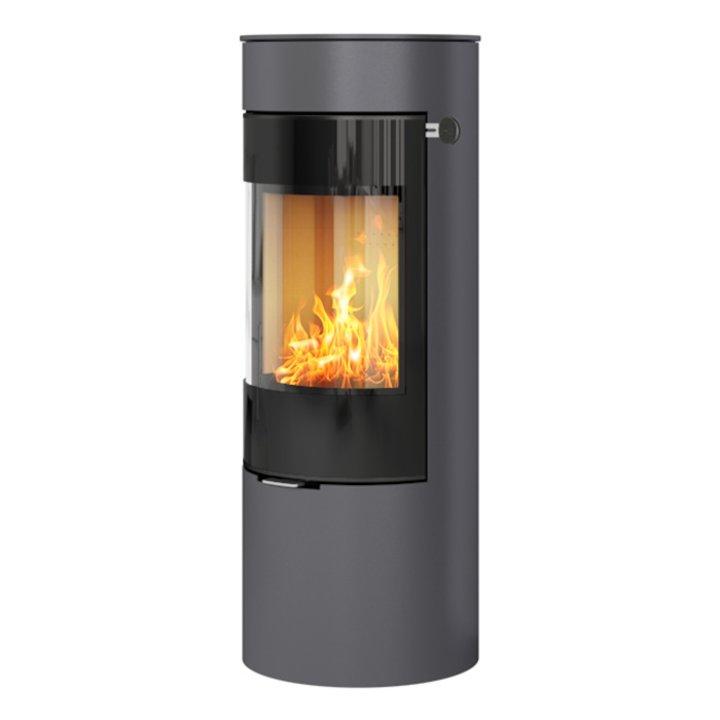 Rais Viva 120L Wood Stove Platinum Black Glass Framed Door Solid Sides - Platinum