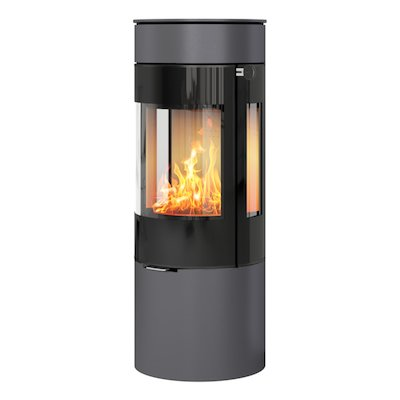 Rais Viva 120L Wood Stove Platinum Black Glass Framed Door Side Glass Windows