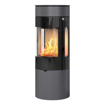 Rais Viva 120L Wood Stove Platinum Black Glass Framed Door Side Glass Windows