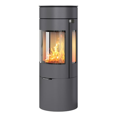 Rais Viva 120L Wood Stove Platinum Metal Framed Door Side Glass Windows