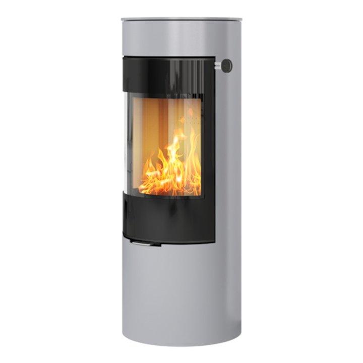 Rais Viva 120L Wood Stove Silver Black Glass Framed Door Solid Sides - Silver Filigree