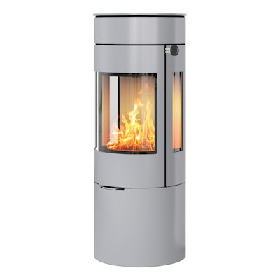 Rais Viva 120L Wood Stove Silver Metal Framed Door Side Glass Windows