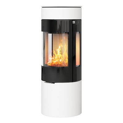 Rais Viva 120L Wood Stove White Black Glass Framed Door Side Glass Windows