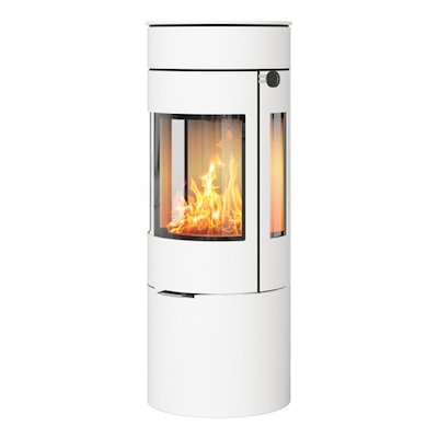Rais Viva 120L Wood Stove White Metal Framed Door Side Glass Windows