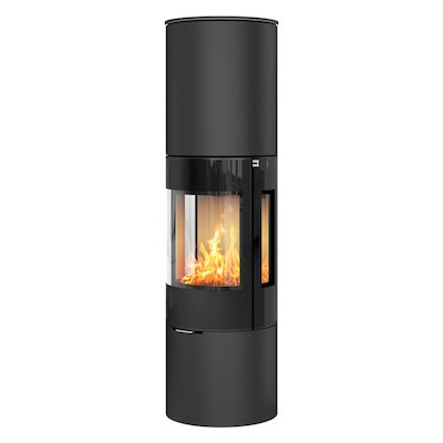Rais Viva 160L Wood Stove Black Black Glass Framed Door Side Glass Windows