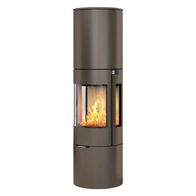 Rais Viva 160L Wood Stove Mocha Metal Framed Door Side Glass Windows