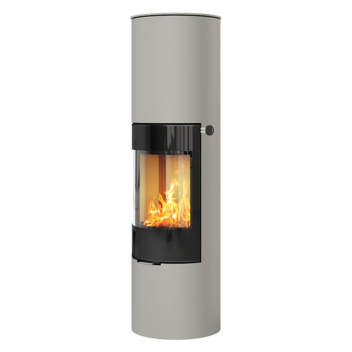 Rais Viva 160L Wood Stove Nickel Black Glass Framed Door Solid Sides - Nickel